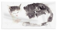 Snuggling Cat Beach Towel