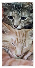 Snuggling Kittens Beach Towel