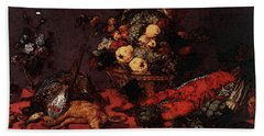 Snyders Frans Still Life With A Basket Of Fruit Beach Sheet by Frans Snyders