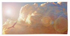 Soaring At Sunset, Hawk Silhouette Beach Towel by A Gurmankin
