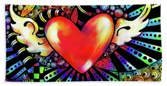 Soaring Heart Coloration Beach Towel