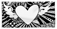 Beach Towel featuring the drawing Soaring Heart  by Nada Meeks