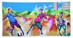 Beach Towel featuring the photograph Soccer Graffiti by Theresa Tahara