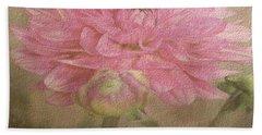 Soft Graceful Pink Painted Dahlia Beach Towel by Judy Palkimas