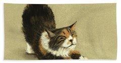 Beach Sheet featuring the painting Soft Kitty by Anastasiya Malakhova