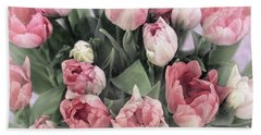 Soft Pink Tulips Beach Sheet