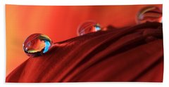 Soft Red Petals With Water Drops Beach Towel