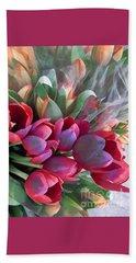 Soft Reds Of Spring - Tulips Beach Sheet by Miriam Danar
