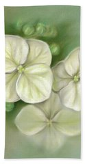 Beach Towel featuring the pastel Soft Summer Hydrangea Blossoms by MM Anderson
