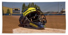 Softball Catcher Helmet Beach Towel