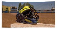 Softball Catcher Helmet Beach Sheet