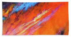 Solar Flare Up. Acrylic Abstract Painting On Canvas. Beach Sheet