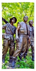 Soldiers Statue At The Vietnam Wall Beach Sheet