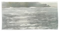 Soldis Over Glittrande Fjord - Sunlit Haze Over Glittering Water_0023 76x48cm Beach Sheet