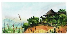 Beach Sheet featuring the painting Solitary Cottage In Malawi by Dora Hathazi Mendes