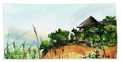 Beach Towel featuring the painting Solitary Cottage In Malawi by Dora Hathazi Mendes