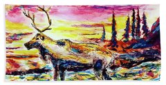 Beach Towel featuring the painting Solitude Caribou by Monique Faella
