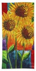 Sonflowers I Beach Sheet by Holly Carmichael