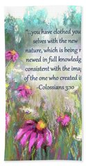 Song Of The Flowers With Bible Verse Beach Sheet