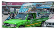 Beach Towel featuring the photograph Songthaew Minibus by Antony McAulay