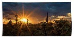 Beach Towel featuring the photograph Sonoran Gold At Sunset  by Saija Lehtonen