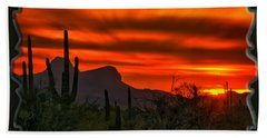 Beach Towel featuring the photograph Sonoran Sunset H38 by Mark Myhaver