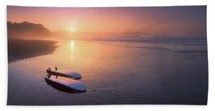 Sopelana Beach With Surfboards On The Shore Beach Sheet