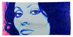 Beach Towel featuring the painting Sophia Loren Pop Art Portrait by Bob Baker