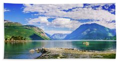 Beach Towel featuring the photograph Soreimsfjorden by Dmytro Korol