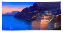 Beach Towel featuring the painting La Dolce Vita A Sorrento by Rosario Piazza