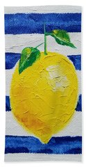 Beach Towel featuring the painting Sorrento Lemon by Judith Rhue