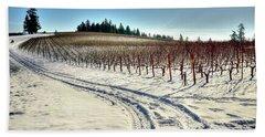 Soter Vineyard Winter Beach Towel by Jerry Sodorff