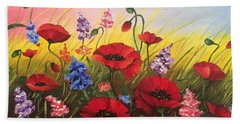 Soul Of May. Lovely Poppies. Beach Towel