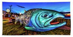Soul Salmon During Blue Hour Beach Towel