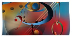 Beach Towel featuring the digital art Sound Of Bass Guitar by Leo Symon