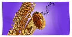 Sounds Of The Sax In Purple Beach Towel