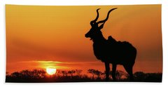South Africa Sunset Kudu Silhouette Beach Towel