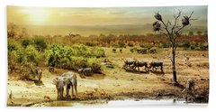 South African Safari Wildlife Fantasy Scene Beach Sheet