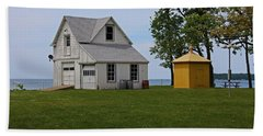 South Bass Island Lighthouse Barn And Oil Storage Building I Beach Sheet by Michiale Schneider