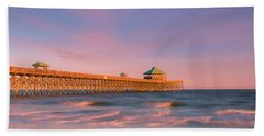 Beach Towel featuring the photograph South Carolina Fishing Pier At Sunset Panorama by Ranjay Mitra