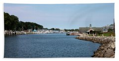 Beach Towel featuring the photograph South Haven Harbor In September #2 by Jeff Severson