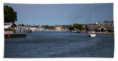 South Haven Harbor In September Beach Towel by Jeff Severson