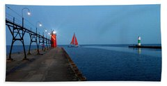 South Haven Lighthouse Pier Beach Towel