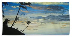 Beach Towel featuring the painting South Sea Sunset by Norm Starks