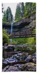 South Silver Falls With Bridge Beach Towel by Darcy Michaelchuk