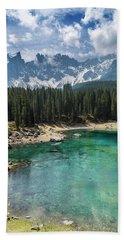 South Tyrol Beautiful Karersee Lake Beach Towel