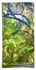 Beach Towel featuring the photograph Southern Drive Through Spanish Moss  by Kerri Farley