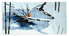 Beach Towel featuring the painting Southern Vermont Roadside Runoff by Len Stomski