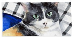 Southpaw - Calico Cat Portrait Beach Towel