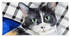 Southpaw - Calico Cat Portrait Beach Towel